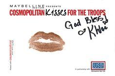 Khloe Kardashian #kissesforthetroops Submit your virtual kiss at Cosmopolitan.com/kisses & we'll donate a dollar to USO!