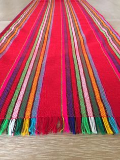 Mexican Fabric Table Runner. Aztec Striped Red, Custom Placemats, Napkins  Or Tablecloth.