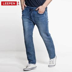 (58.99$)  Watch more here - http://ai2f9.worlditems.win/all/product.php?id=32268052177 - 2017 New Winter-Autumn Heavyweight Man Denim Jeans Plus Size 36-52 Fashion Blue Pleated Skinny Mid Waist Elastic Pencil Jeans
