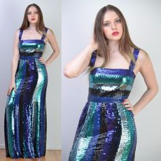 VTG 70s GIVENCHY Color Block SEQUIN ENCRUSTED Trophy COUTURE MAXI Party DRESS S in Clothing, Shoes & Accessories, Vintage, Women's Vintage Clothing, 1965-76 (Mod, Hippie, Disco), Dresses | eBay