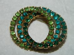 Vintage Rhinestone Teal & Green Oval Brooch Pin by TheIDconnection