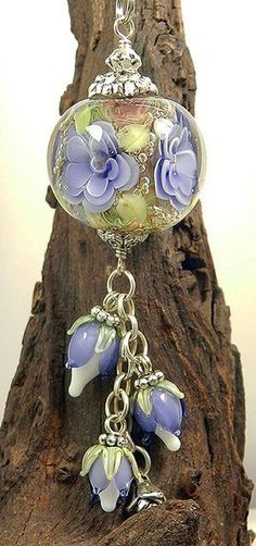 GLASSACTCC~Purple Flower Ball Pendant~Handmade Lampworked Glass Beads Jewelry