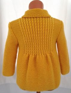 Discover thousands of images about NEW Little Princess Coat For 2 to 3 Year Old by AuthenticKnit Girls Knitted Dress, Crochet Baby Cardigan, Cardigan Pattern, Girls Sweaters, Baby Sweaters, Baby Knitting Patterns, 3 Year Old Girl, Yellow Coat, Baby Coat