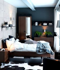 This Moody Spot Is My Kind Of Bedroom Love The Contrast Dark Masculine Vibes Combined With Light Airy Whites So Lovely Want To See It As Our Ne