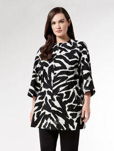 Animal print jacquard parka jacket