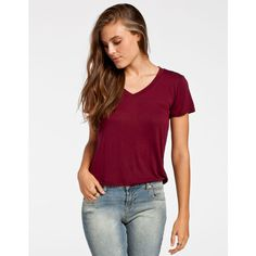 Full Tilt Womens V-Neck Tee ($15) ❤ liked on Polyvore featuring tops, t-shirts, shirts, burgundy, vneck shirts, v-neck shirts, short sleeve v neck t shirt, v neck t shirts and short sleeve v neck tee