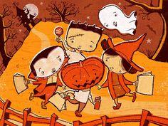 Halloween - Shane McGowan #halloween #children #trickortreat #ghost #pumpkin #hauntedhouse #childrensbook #illustration #kidlitart #shanemcgowan