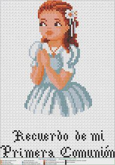Cross Stitch Bookmarks, Cross Stitch Baby, Cross Stitch Patterns, Première Communion, First Communion, Colchas Quilting, Religious Cross, Hama Beads, Teaching Kids