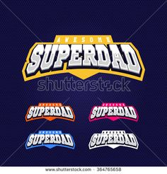 Super dad, super hero power full typography, t-shirt graphics, vectors. Sport style logo. - stock vector