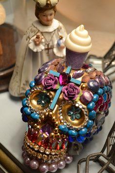 Mixed media sugar skull, dia de list muertos