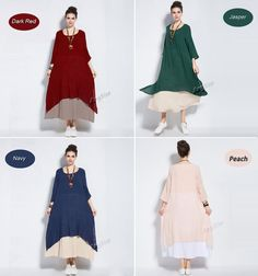 Anysize retro fake two piece soft linen&cotton dress by AnySize
