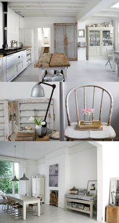 gorgeous use of white paint, natural wood & chippy vintage painted pieces - Paul_Massey