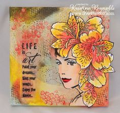 Stamping & Scrapping in California Mixed media canvas using #Faber-Castell and #Stampendous products