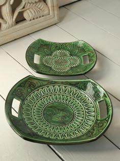 handmade pottery platters from Looker & Bell …