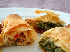 Filodejshapsere med to slags fyld Feta, Spanakopita, Tapas, Picnic, Brunch, Appetizers, Snacks, Ethnic Recipes, Desserts