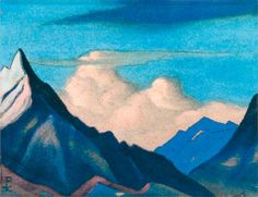 Н.К.Рерих. Гималаи [Облачный замок]. 1946 Картон, темпера. 25х30,2