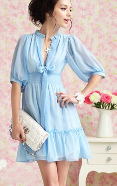 SALE. Summer Blue. Soft Feminine Deep V Neck Ribbon Chiffon Dress