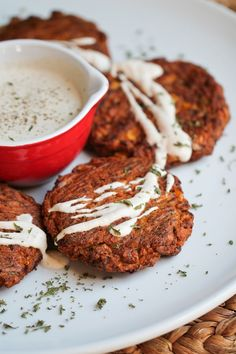 Finally! You can eat a vegan corn zucchini fritter without oil or frying them. There are a bazillion zucchini cake or fritter recipes online, but they all have oil in them or are fried in oil. Guess what? You don't need oil to make a delicious recipe! I debated on calling these zucchini burgers, because they bake up and form