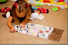 Fabric Square Matching {34 months} #totschool #preschool #tottrays