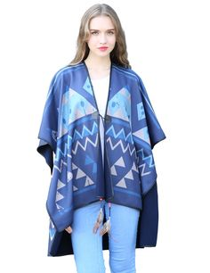 WPRS Women's Winter Pashmina Shawl Wrap Poncho Capes Cardigans Sweater Coat with Feathers Trims (Multicoloured) -- Awesome products selected by Anna Churchill