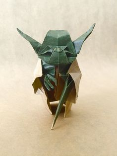 Origami Jedi Master Yoda Designed by Origami Yoda, Paper Folding, Kirigami, Types Of Art, Tattoo Drawings, Body Painting, Paper Cutting, Starwars, Unique