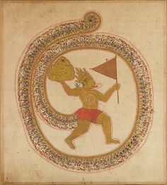 Hanuman Bearing the Mountaintop with Medicinal Herbs, ca 1800, Rajasthan, gouache on cloth