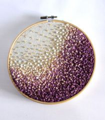 Golden Purple Wave- Gradient/ Ombre  Embroidery Hoop Art -French Knots, Beads