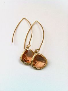 "Framed ""Champaign"" Faceted Glass Earrings by CharmingChainsShop, $20.00"