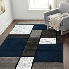 Ebern Designs Allison Boxes Gray/Navy Area Rug Rug Size: Rectangle x Navy Living Rooms, Living Room Carpet, Rugs In Living Room, Teal Area Rug, Navy Blue Area Rug, Beige Area Rugs, Bear Rug, Navy Rug, Room Rugs