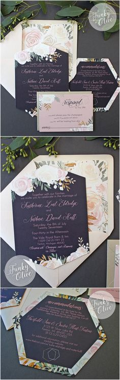 Floral Hexagon Watercolor Wedding Invitation Package Envelope Liner Die Cut Navy Blush & Gold Bold Modern Invites SAMPLE or DEPOSIT Custom