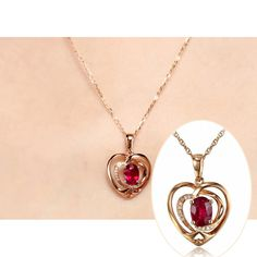 Solid 18k Rose Gold Natural Diamond 0.48ct Glass Filling Ruby Pendant Necklace, View Diamond Pendant Necklace, First Lady Product Details from Guangzhou First Lady Jewelry Co., Ltd. on Alibaba.com