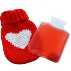 Mini Bouillotte Et Son Etui tricoté en coeur : la chaufferette de l'hiver so romantique !