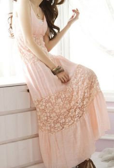 Sweety hollow v-neck lace long dress - US$ 24.10