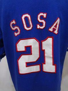 Chicago Cubs Sammy Sosa 21 Baseball MLB Mirage Blue Cotton Jersey Mens Size L #Mirage #ChicagoCubs