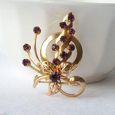 Vintage Amethyst Purple Flower Rhinestone by VintageSundries, $16.00