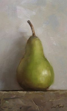 Original Oil Painting - Pear - Contemporary Miniature Still Life Art - Nelson