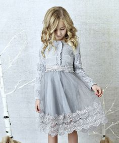 Loving this Lollies and Lace Boutique Gray Lace-Accent Long-Sleeve Dress - Toddler & Girls on #zulily! #zulilyfinds