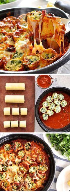 Rellenar de queso ricotta, espinacas y tomates secos. Acompañar de salsa de tomate frito casera.