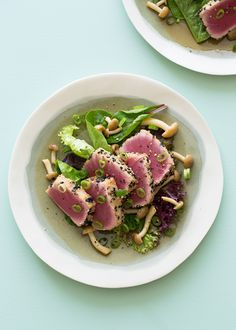 Black Sesame and Almond Crusted Ahi Tuna with Brown Beech Mushrooms and Mixed Greens
