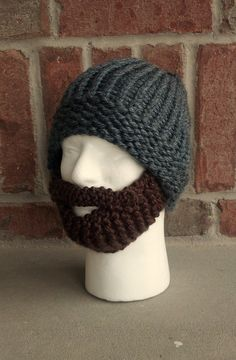 READ DESCRIPTION valentines day beard hat bearded knit snowboard ski valentine gift for men him husband boyfriend motorcycle works outside. $33.00, via Etsy.