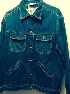fa4b44fe064 Vintage Denim Jacket Ladies Jean Jacket Flannel Lined Denim Chute D époque