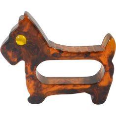 Vintage Brown Marbled Bakelite Scottie Dog Napkin Ring 1930's - 1950's.