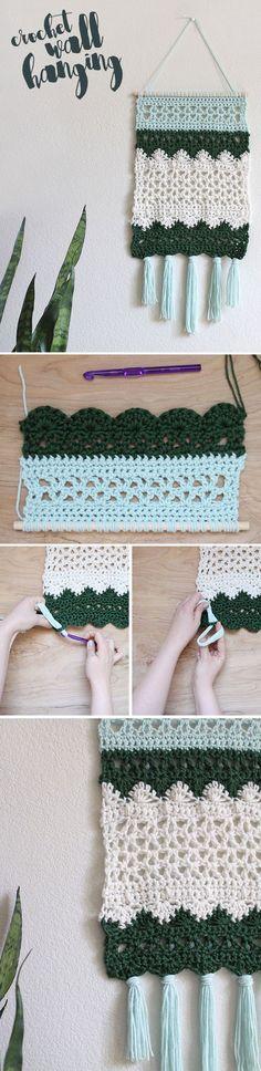 crochet wall hanging - make a piece of crocheted wall decor - free pattern