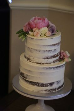 Semi Naked Cake with fresh flowers by Cakes by Buds n Roses