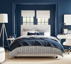 Tamsen Square Upholstered Full Bed with Pewter Nailhead, Performance Everydaylinen(TM) by Crypton(R) Home Oatmeal at Pottery Barn Cushion Headboard, Upholstered Beds, Pottery Barn, Tall Bed, Pipe Decor, Bedroom Decor, Blue Bedroom, Master Bedroom, Bedroom Ideas