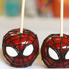 Spiderman Candy Apples - these are awesome!