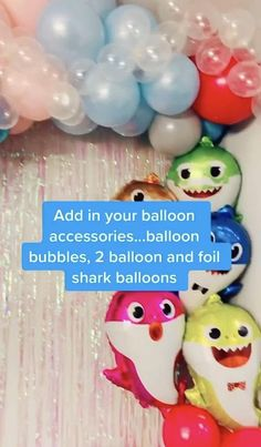 3rd Birthday Party For Boy, 1st Birthday Girl Decorations, Shark Party Decorations, Birthday Ideas, Balloon Backdrop, Balloon Wall, Charlie Austin, Samara, Baby Shark