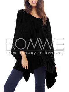 Black Cape Style Asymmetric Oversized Knitwear