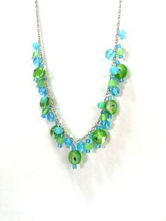 24 Inch Blue and Green Filigree Necklace by DCArtandPhotography