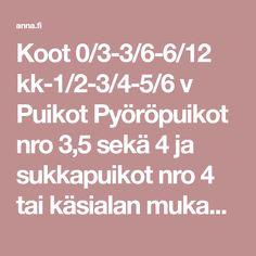 Koot 0/3-3/6-6/12 kk-1/2-3/4-5/6 v Puikot Pyöröpuikot nro 3,5 sekä 4 ja sukkapuikot nro 4 tai käsialan mukaan Tiheys 22 s ja 28 krs sileää neuletta paksummilla puikoilla =10 cm Mallineuleet Joustinneule: 1 o, 1 n. Sileä neule suljettuna neuleena: neulo kaikki krs:t oikein.… Lifestyle